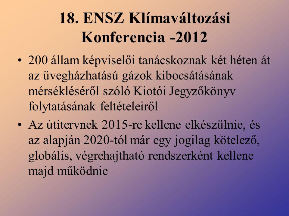18. ENSZ Klímaváltozási Konferencia -2012 200 állam képviselői tanácskoznak két héten át az üvegházhatású gázok kibocsátásának mérsékléséről szóló Kio