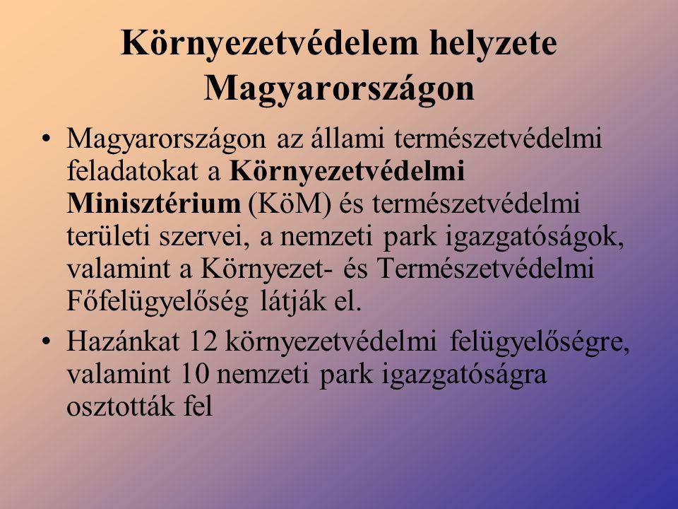 Környezetvédelem helyzete Magyarországon Magyarországon az állami természetvédelmi feladatokat a Környezetvédelmi Minisztérium (KöM) és természetvédel