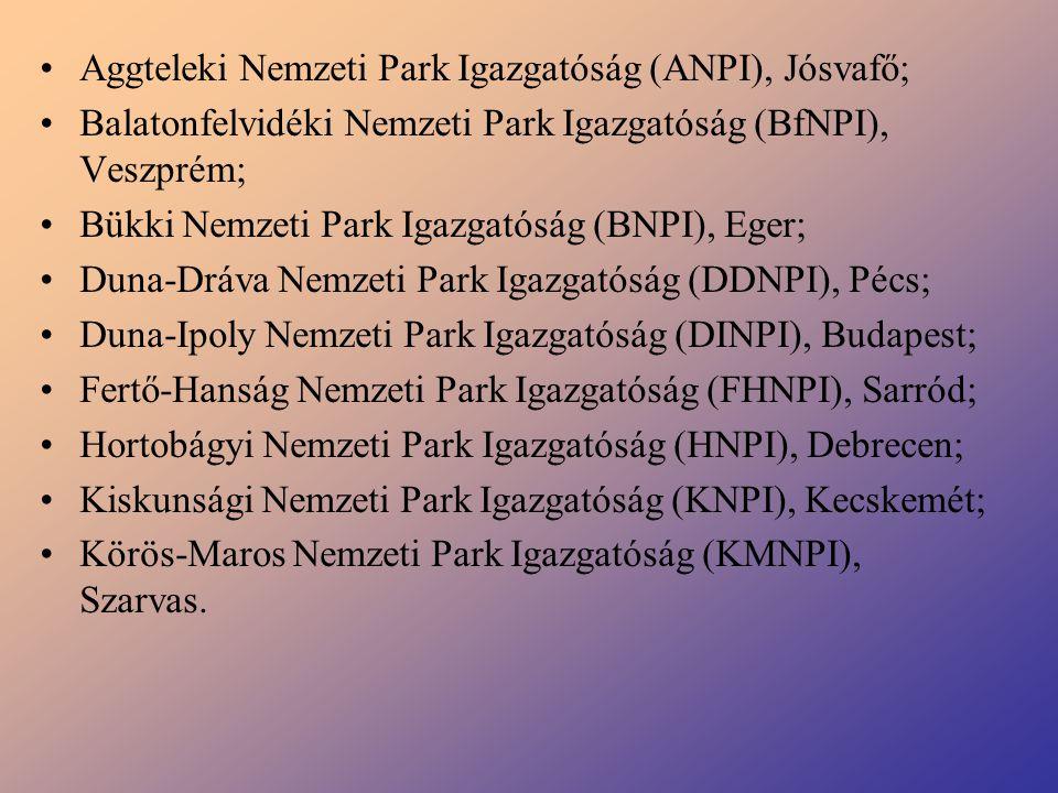 Aggteleki Nemzeti Park Igazgatóság (ANPI), Jósvafő; Balatonfelvidéki Nemzeti Park Igazgatóság (BfNPI), Veszprém; Bükki Nemzeti Park Igazgatóság (BNPI)