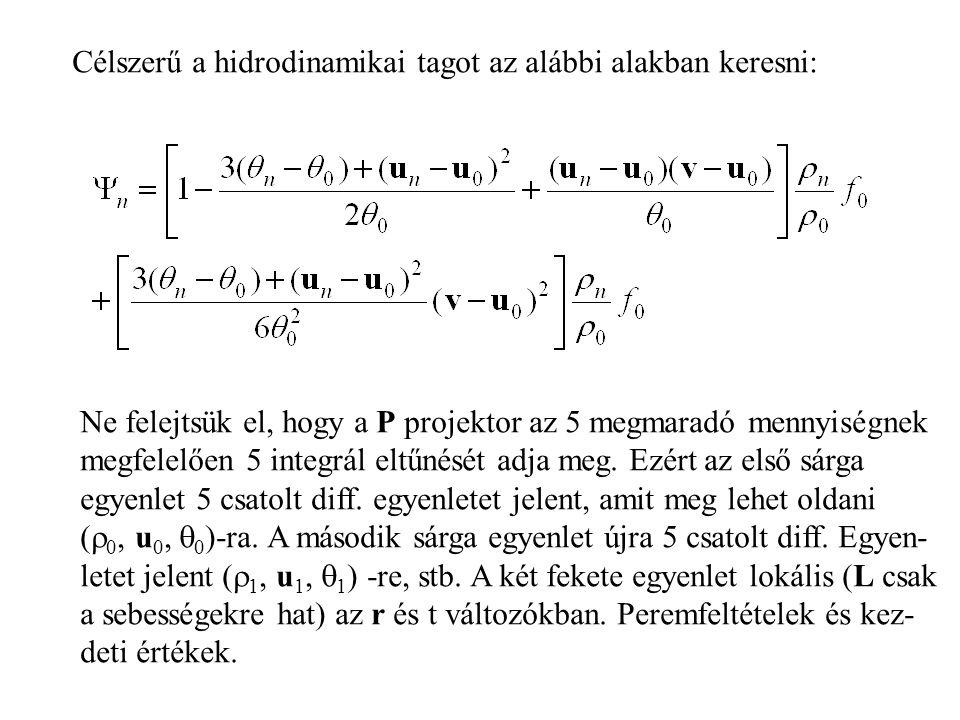 Célszerű a hidrodinamikai tagot az alábbi alakban keresni: Ne felejtsük el, hogy a P projektor az 5 megmaradó mennyiségnek megfelelően 5 integrál eltűnését adja meg.