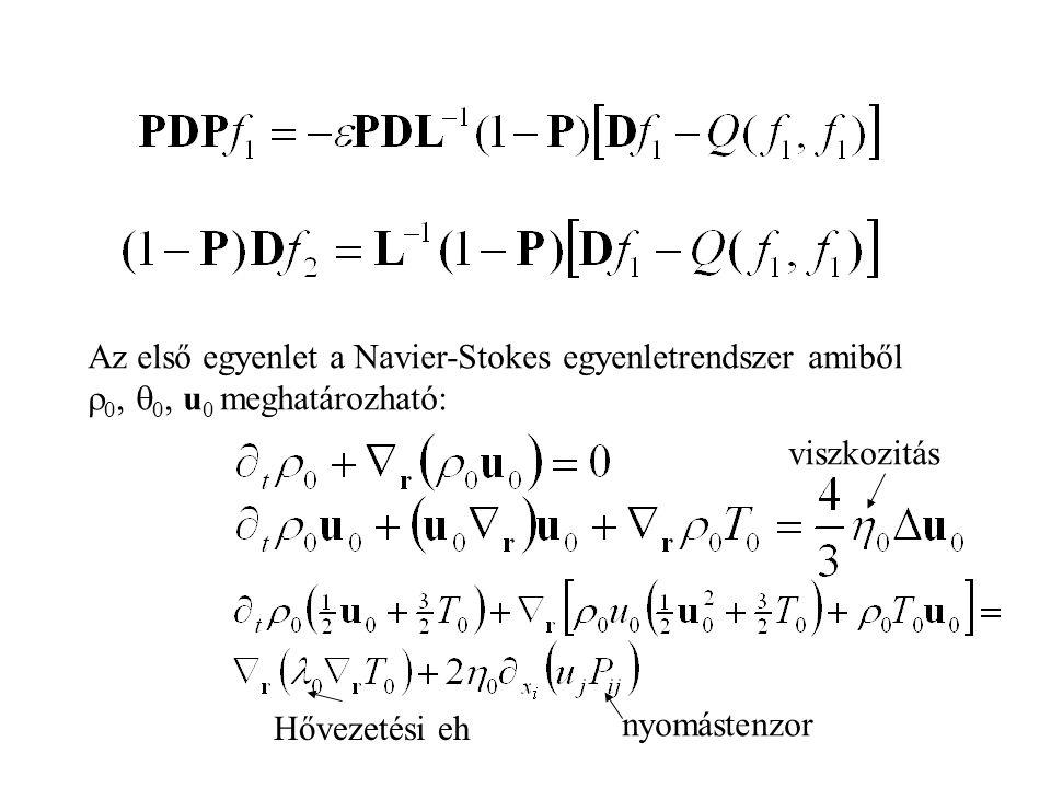 Az első egyenlet a Navier-Stokes egyenletrendszer amiből  0,  0, u 0 meghatározható: Hővezetési eh viszkozitás nyomástenzor