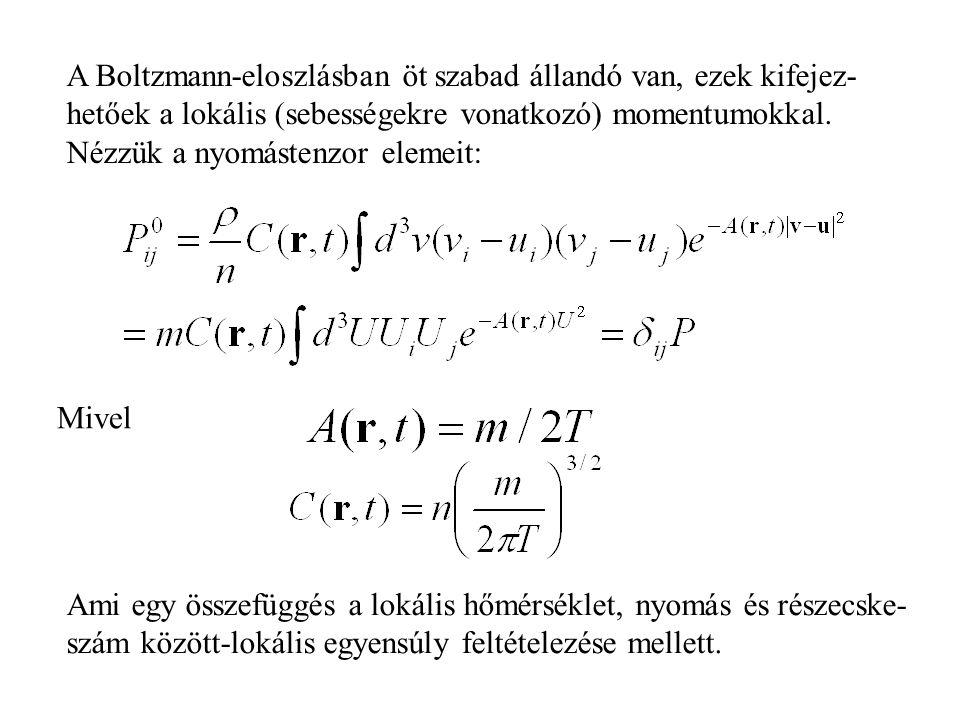 A Boltzmann-eloszlásban öt szabad állandó van, ezek kifejez- hetőek a lokális (sebességekre vonatkozó) momentumokkal.
