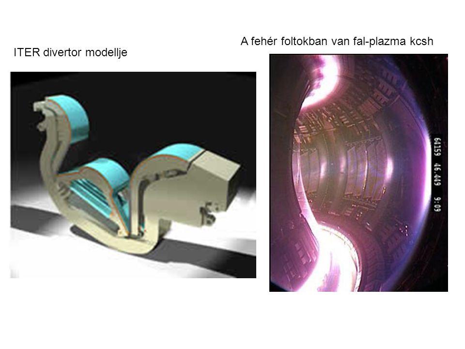 A fehér foltokban van fal-plazma kcsh ITER divertor modellje