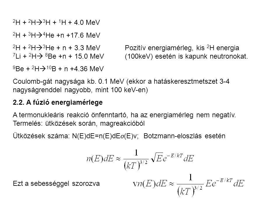 2 H + 2 H  3 H + 1 H + 4.0 MeV 2 H + 3 H  4 He +n +17.6 MeV 2 H + 2 H  3 He + n + 3.3 MeVPozitív energiamérleg, kis 2 H energia 7 Li + 2 H  8 Be +