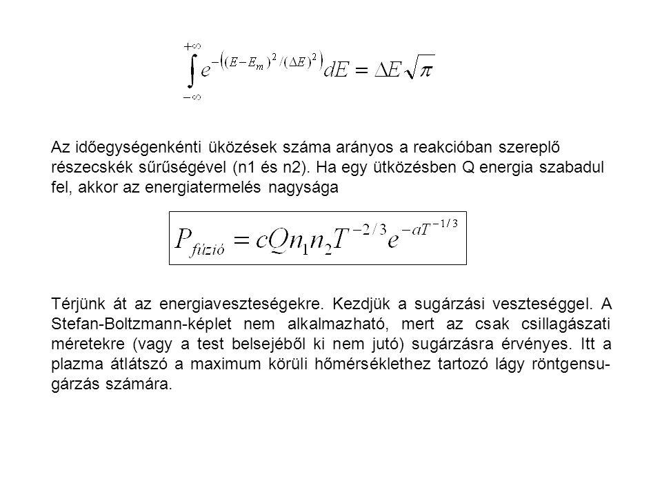 Az időegységenkénti üközések száma arányos a reakcióban szereplő részecskék sűrűségével (n1 és n2). Ha egy ütközésben Q energia szabadul fel, akkor az