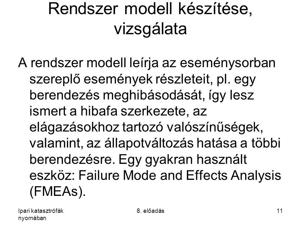 Ipari katasztrófák nyomában 8. előadás11 Rendszer modell készítése, vizsgálata A rendszer modell leírja az eseménysorban szereplő események részleteit
