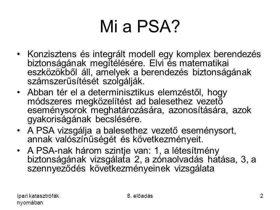 Ipari katasztrófák nyomában 8. előadás2 Mi a PSA? Konzisztens és integrált modell egy komplex berendezés biztonságának megítélésére. Elvi és matematik