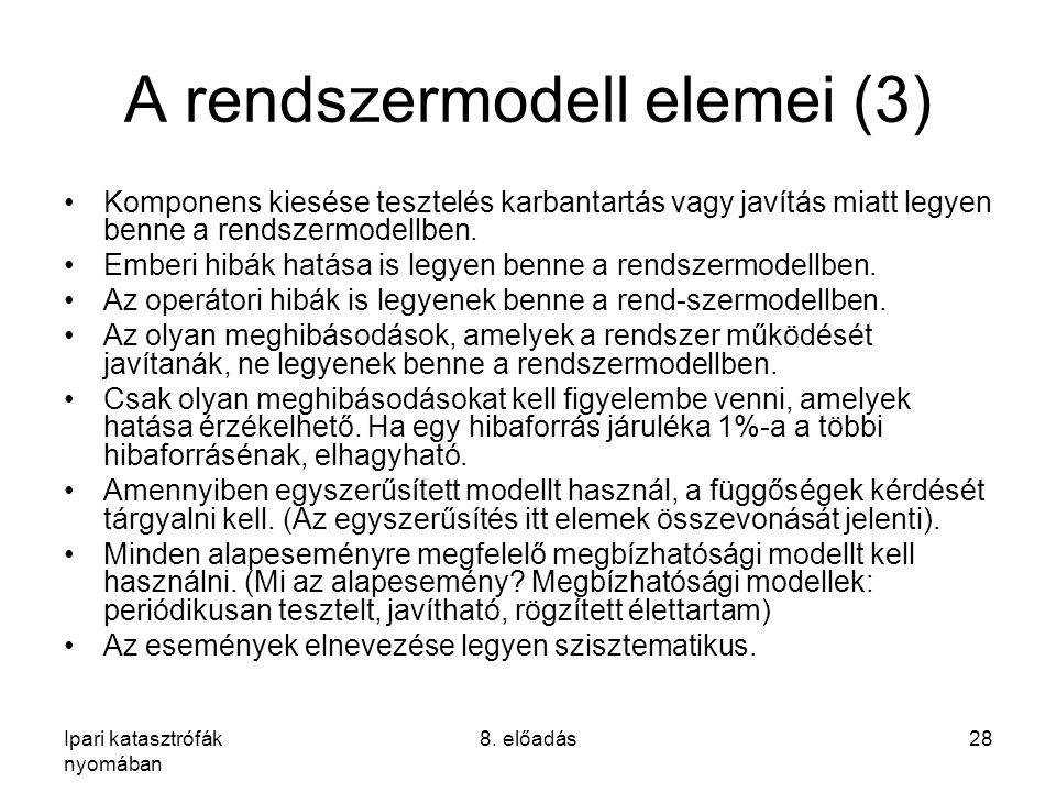 Ipari katasztrófák nyomában 8. előadás28 A rendszermodell elemei (3) Komponens kiesése tesztelés karbantartás vagy javítás miatt legyen benne a rendsz