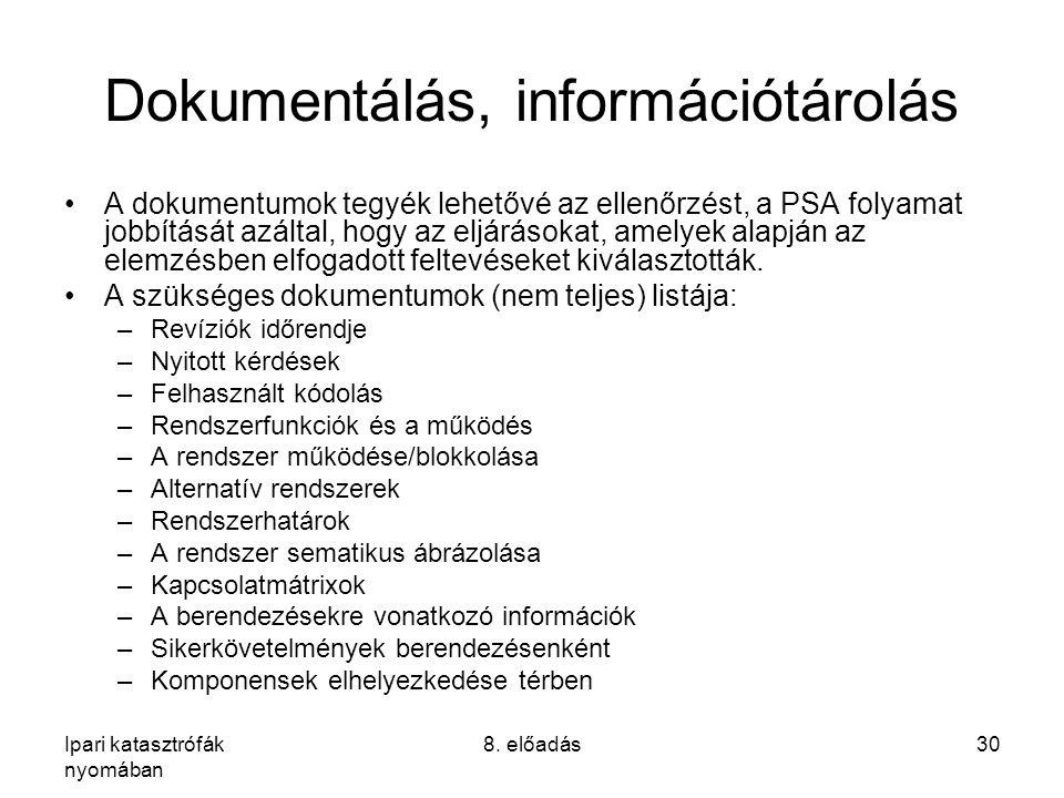 Ipari katasztrófák nyomában 8. előadás30 Dokumentálás, információtárolás A dokumentumok tegyék lehetővé az ellenőrzést, a PSA folyamat jobbítását azál