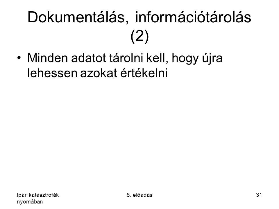 Ipari katasztrófák nyomában 8. előadás31 Dokumentálás, információtárolás (2) Minden adatot tárolni kell, hogy újra lehessen azokat értékelni