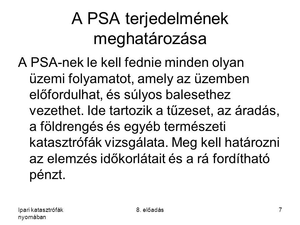Ipari katasztrófák nyomában 8. előadás7 A PSA terjedelmének meghatározása A PSA-nek le kell fednie minden olyan üzemi folyamatot, amely az üzemben elő
