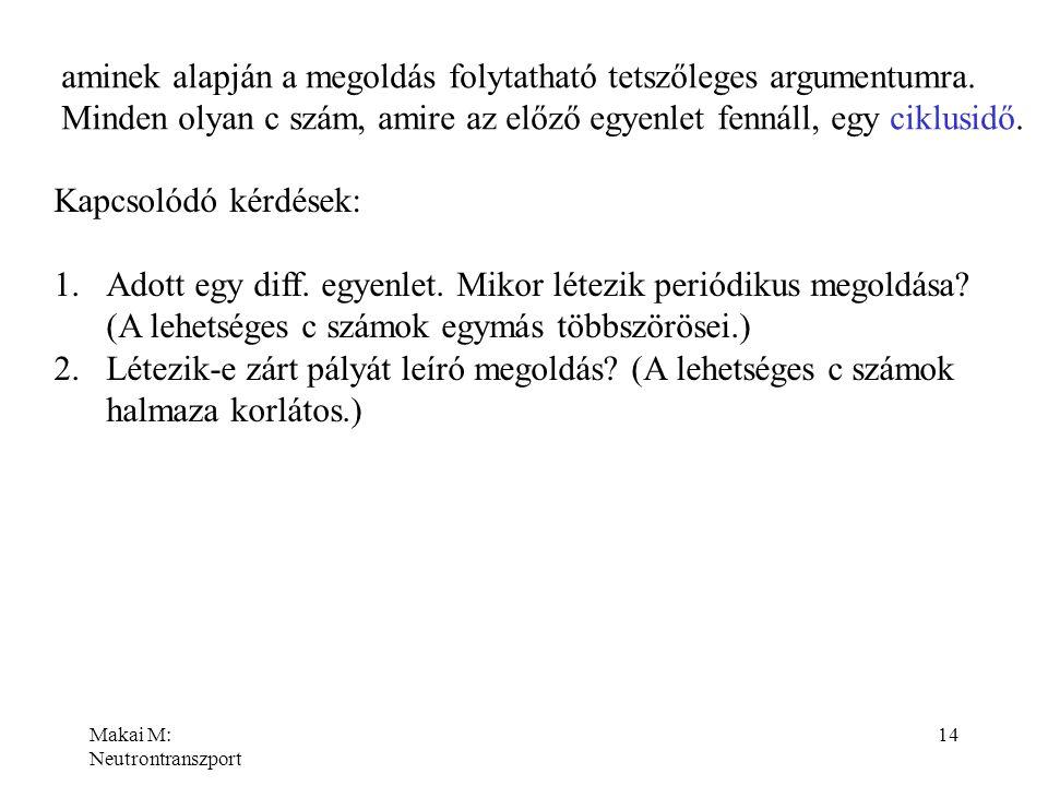 Makai M: Neutrontranszport 14 aminek alapján a megoldás folytatható tetszőleges argumentumra. Minden olyan c szám, amire az előző egyenlet fennáll, eg