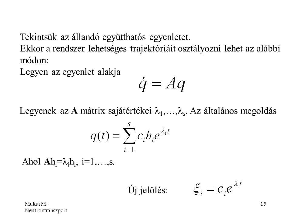 Makai M: Neutrontranszport 15 Tekintsük az állandó együtthatós egyenletet. Ekkor a rendszer lehetséges trajektóriáit osztályozni lehet az alábbi módon