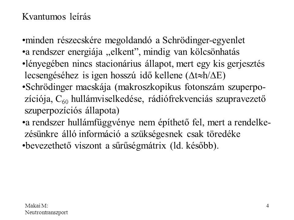 Makai M: Neutrontranszport 5 Makroszkopikus állapotok szuperpozíciója BEK-ban