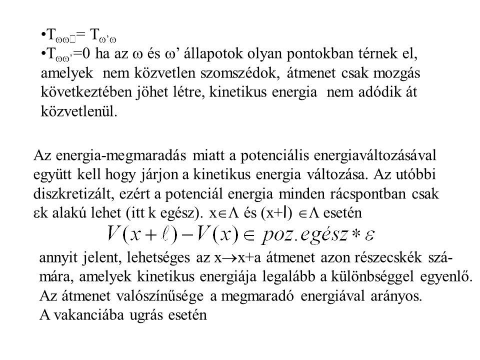 T  ' = T  '  T  ' =0 ha az  és  ' állapotok olyan pontokban térnek el, amelyek nem közvetlen szomszédok, átmenet csak mozgás következtében jöhet létre, kinetikus energia nem adódik át közvetlenül.