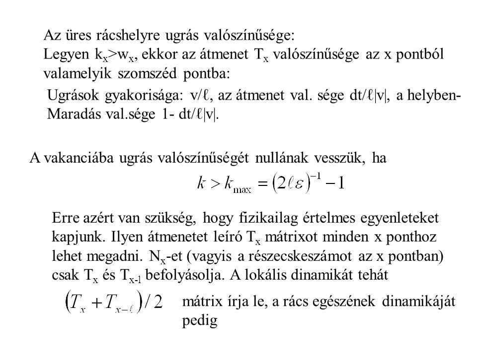 A vakanciába ugrás valószínűségét nullának vesszük, ha Erre azért van szükség, hogy fizikailag értelmes egyenleteket kapjunk.