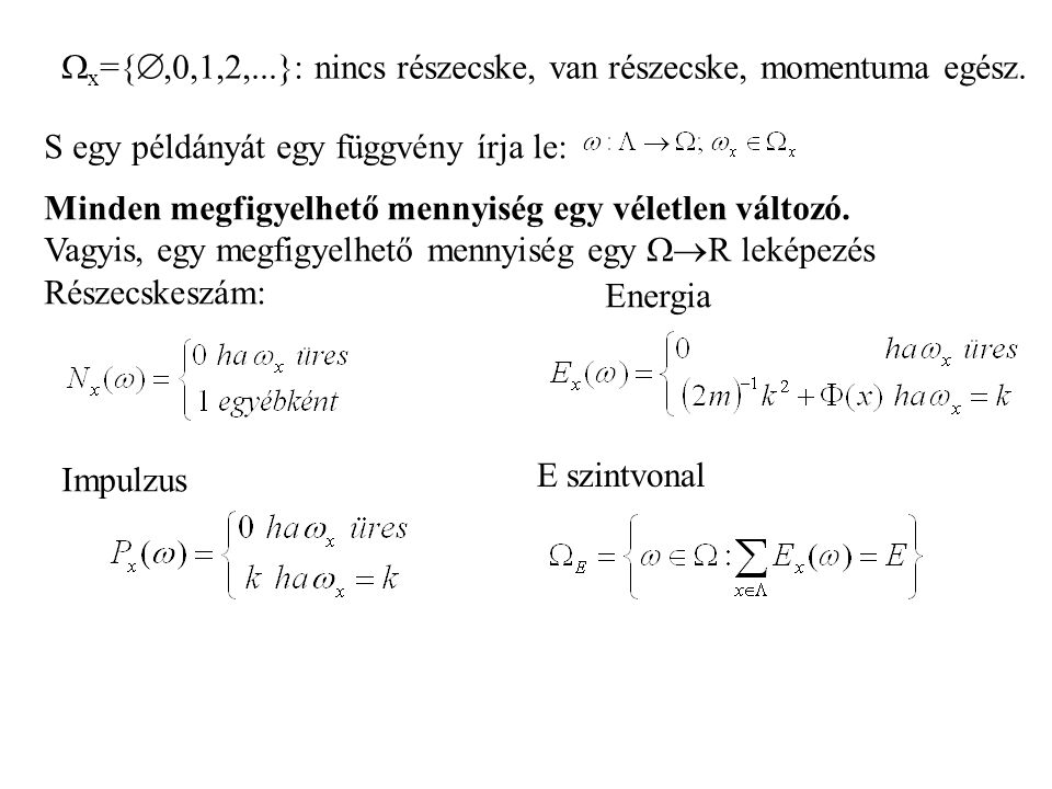  x ={ ,0,1,2,...}: nincs részecske, van részecske, momentuma egész.