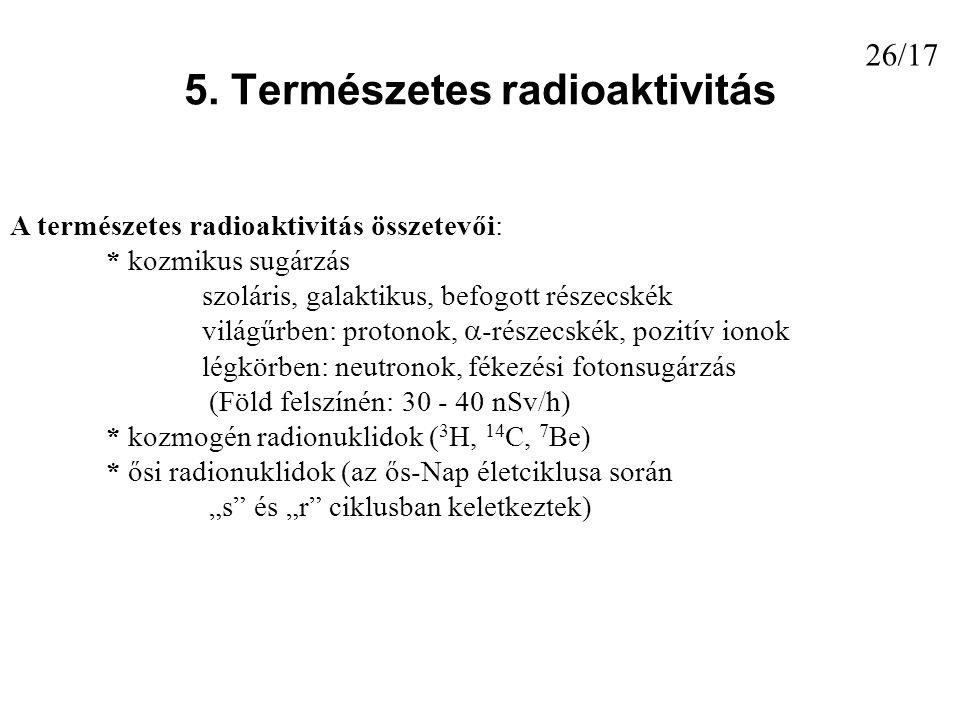 5. Természetes radioaktivitás A természetes radioaktivitás összetevői: * kozmikus sugárzás szoláris, galaktikus, befogott részecskék világűrben: proto