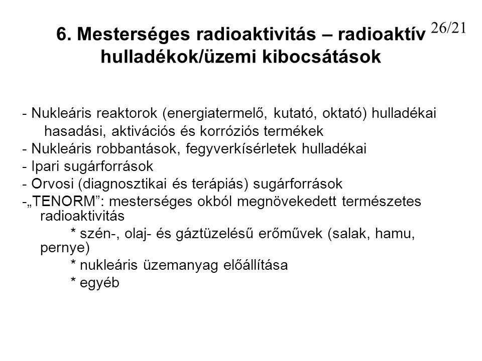 6. Mesterséges radioaktivitás – radioaktív hulladékok/üzemi kibocsátások - Nukleáris reaktorok (energiatermelő, kutató, oktató) hulladékai hasadási, a