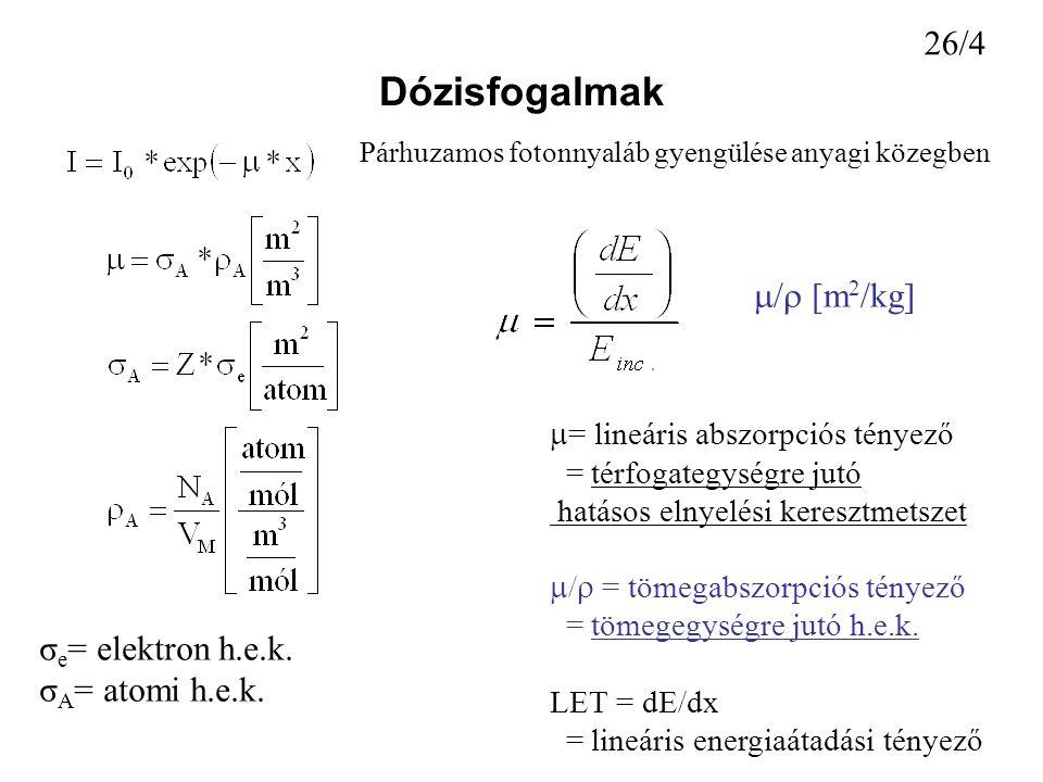 Dózisfogalmak  = lineáris abszorpciós tényező = térfogategységre jutó hatásos elnyelési keresztmetszet  /  = tömegabszorpciós tényező = tömegegységre jutó h.e.k.