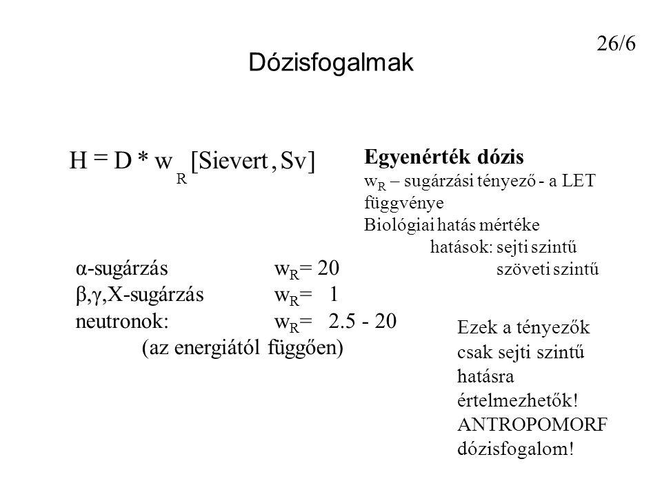 Dózisfogalmak ]Sv,Sievert[w*DH R  Egyenérték dózis w R – sugárzási tényező - a LET függvénye Biológiai hatás mértéke hatások: sejti szintű szöveti szintű α-sugárzás w R = 20 β,γ,X-sugárzás w R = 1 neutronok:w R = 2.5 - 20 (az energiától függően) Ezek a tényezők csak sejti szintű hatásra értelmezhetők.