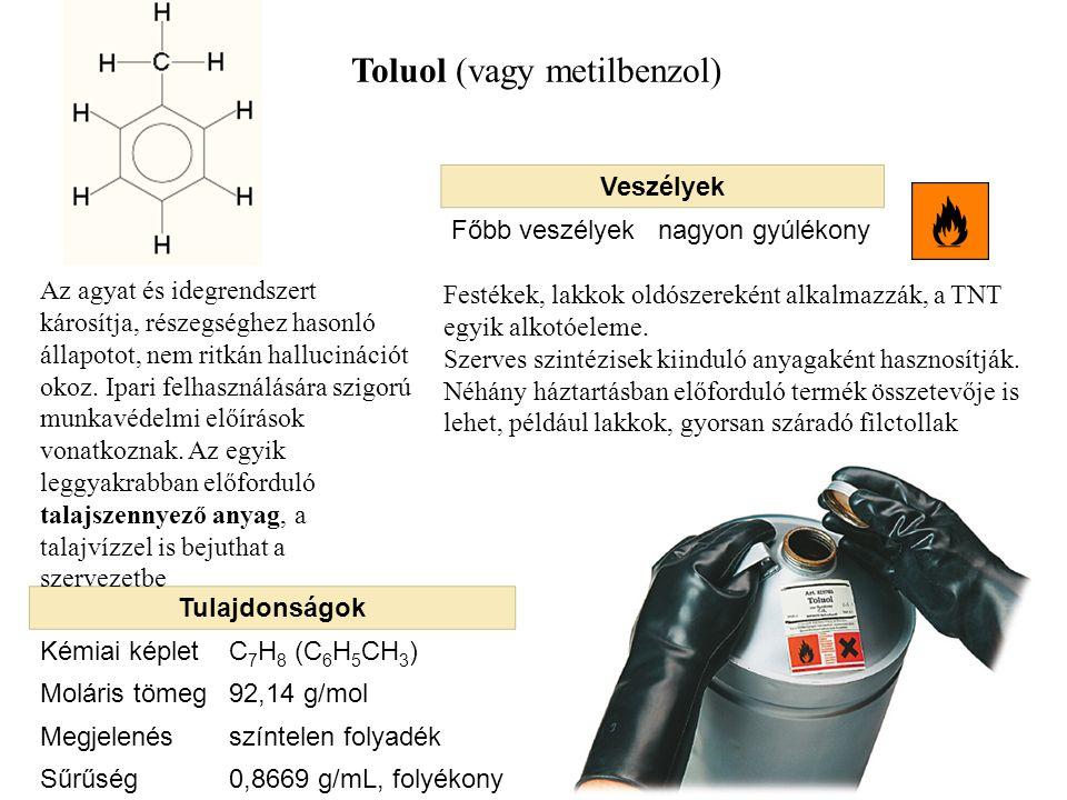 Toluol (vagy metilbenzol) Tulajdonságok Kémiai képletC 7 H 8 (C 6 H 5 CH 3 ) Moláris tömeg92,14 g/mol Megjelenésszíntelen folyadék Sűrűség0,8669 g/mL,