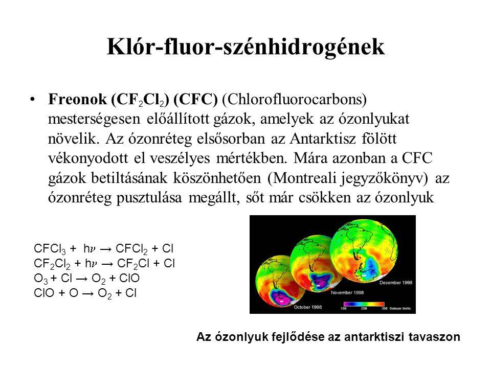 Klór-fluor-szénhidrogének Freonok (CF 2 Cl 2 ) (CFC) (Chlorofluorocarbons) mesterségesen előállított gázok, amelyek az ózonlyukat növelik. Az ózonréte