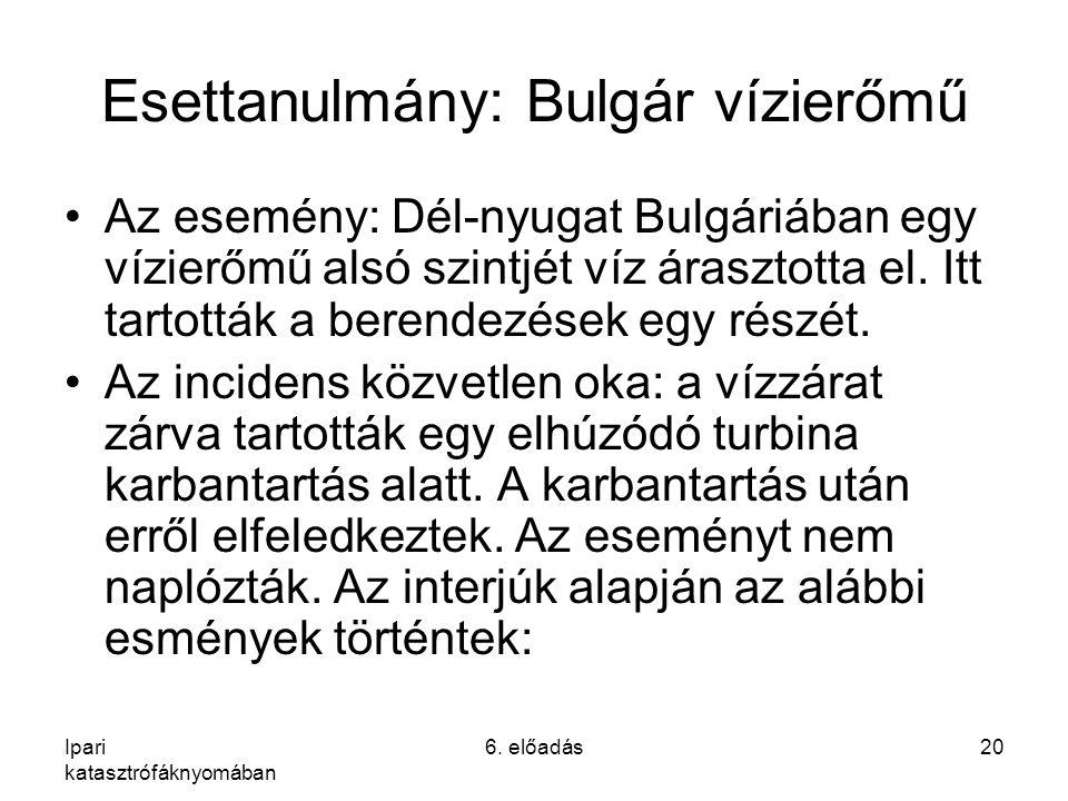 Ipari katasztrófáknyomában 6. előadás20 Esettanulmány: Bulgár vízierőmű Az esemény: Dél-nyugat Bulgáriában egy vízierőmű alsó szintjét víz árasztotta
