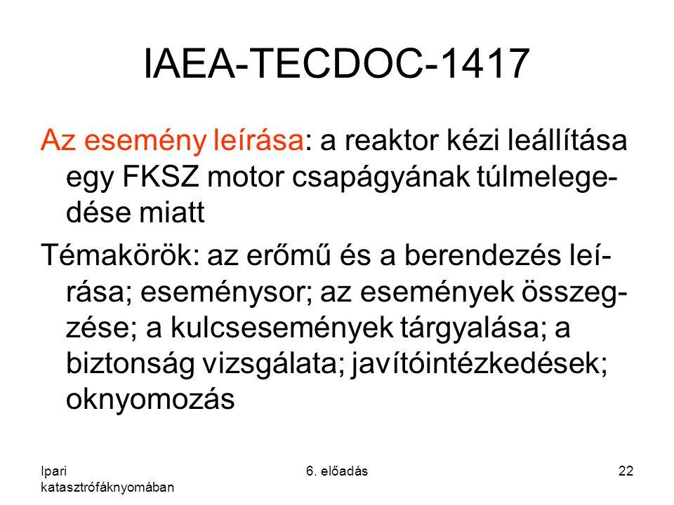 Ipari katasztrófáknyomában 6. előadás22 IAEA-TECDOC-1417 Az esemény leírása: a reaktor kézi leállítása egy FKSZ motor csapágyának túlmelege- dése miat