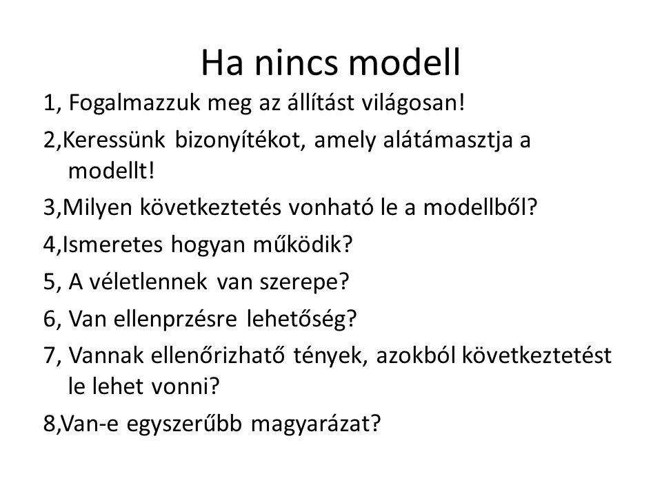 Ha nincs modell 1, Fogalmazzuk meg az állítást világosan! 2,Keressünk bizonyítékot, amely alátámasztja a modellt! 3,Milyen következtetés vonható le a