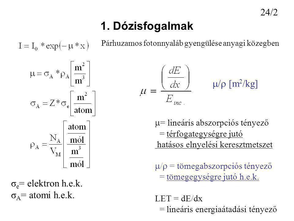 1. Dózisfogalmak  = lineáris abszorpciós tényező = térfogategységre jutó hatásos elnyelési keresztmetszet  /  = tömegabszorpciós tényező = tömegegy