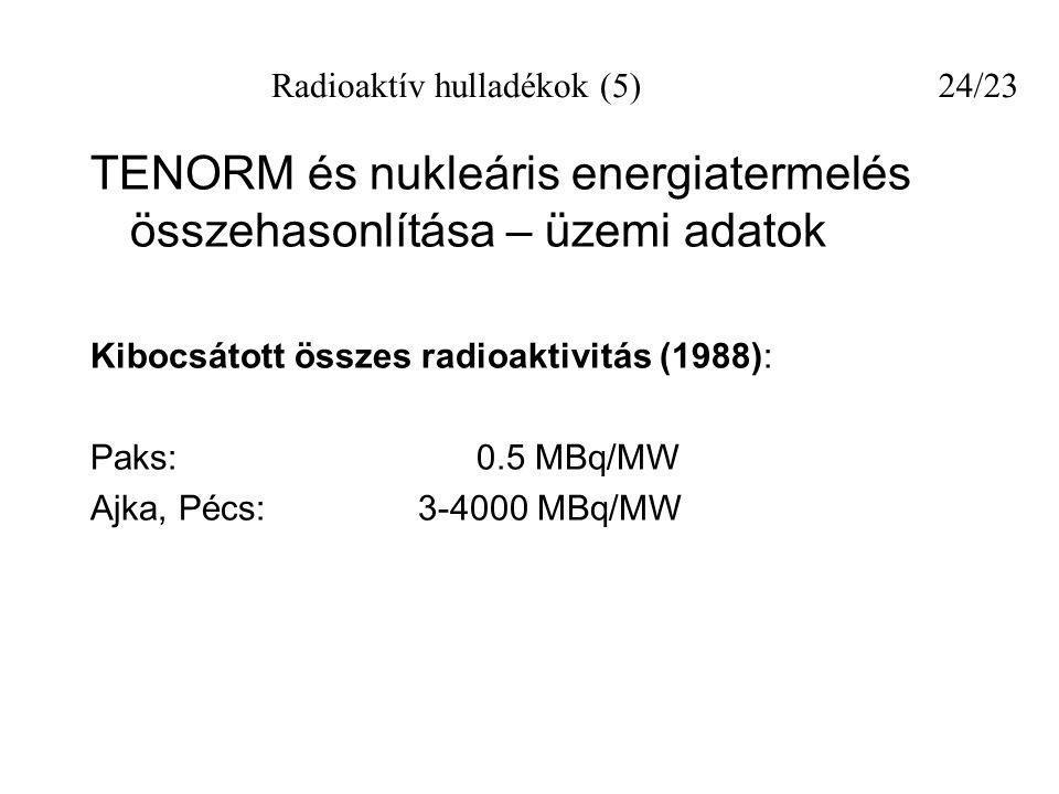 TENORM és nukleáris energiatermelés összehasonlítása – üzemi adatok Kibocsátott összes radioaktivitás (1988): Paks: 0.5 MBq/MW Ajka, Pécs: 3-4000 MBq/