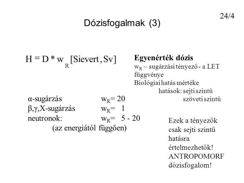 Dózisfogalmak (3) ]Sv,Sievert[w*DH R  Egyenérték dózis w R – sugárzási tényező - a LET függvénye Biológiai hatás mértéke hatások: sejti szintű szövet