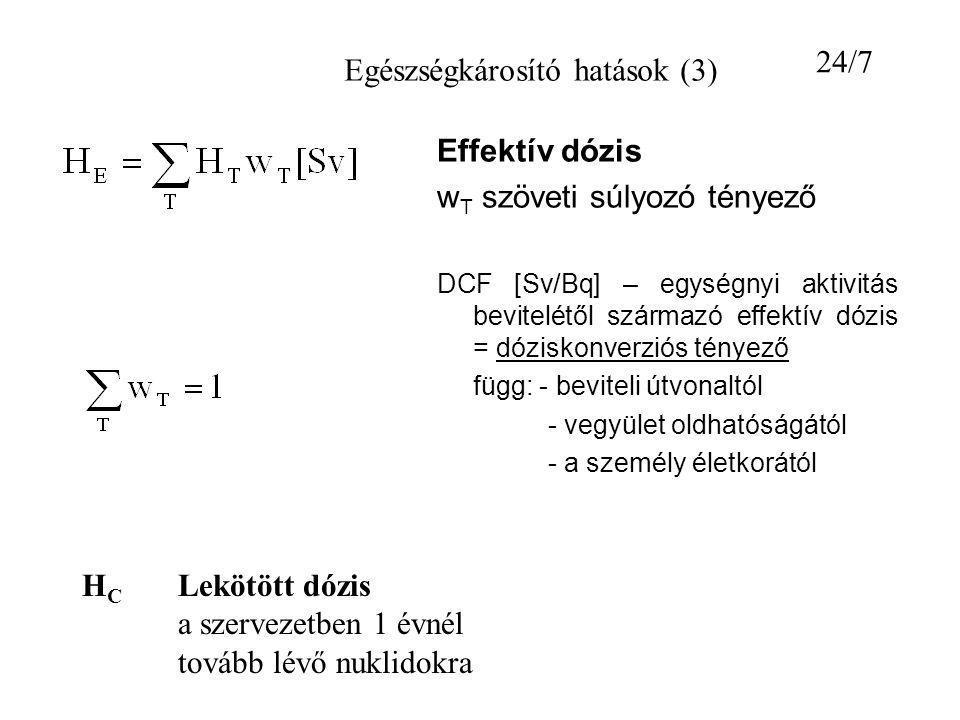 Effektív dózis w T szöveti súlyozó tényező DCF [Sv/Bq] – egységnyi aktivitás bevitelétől származó effektív dózis = dóziskonverziós tényező függ: - bev