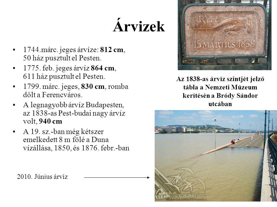 Árvizek 1744.márc. jeges árvíze: 812 cm, 50 ház pusztult el Pesten. 1775. feb. jeges árvíz 864 cm, 611 ház pusztult el Pesten. 1799. márc. jeges, 830