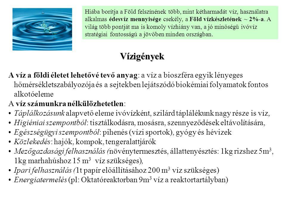 Felszín alatti vizek Karsztvíz: a mészkő és dolomithegységek repedéshálózatába a beszivárgó szén- dioxidtartalmú csapadékvizek oldó hatásának következtében helyenként üregekké, barlangokká bővül, és nagy mennyiségű vizet képes befogadni és tárolni.