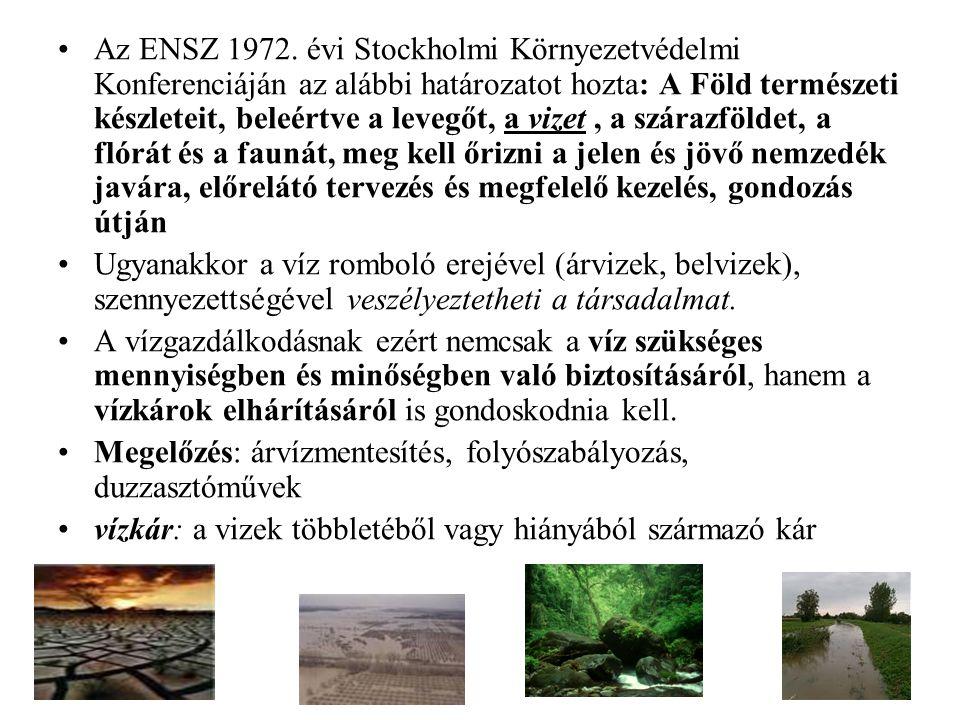 Az ENSZ 1972. évi Stockholmi Környezetvédelmi Konferenciáján az alábbi határozatot hozta: A Föld természeti készleteit, beleértve a levegőt, a vizet,