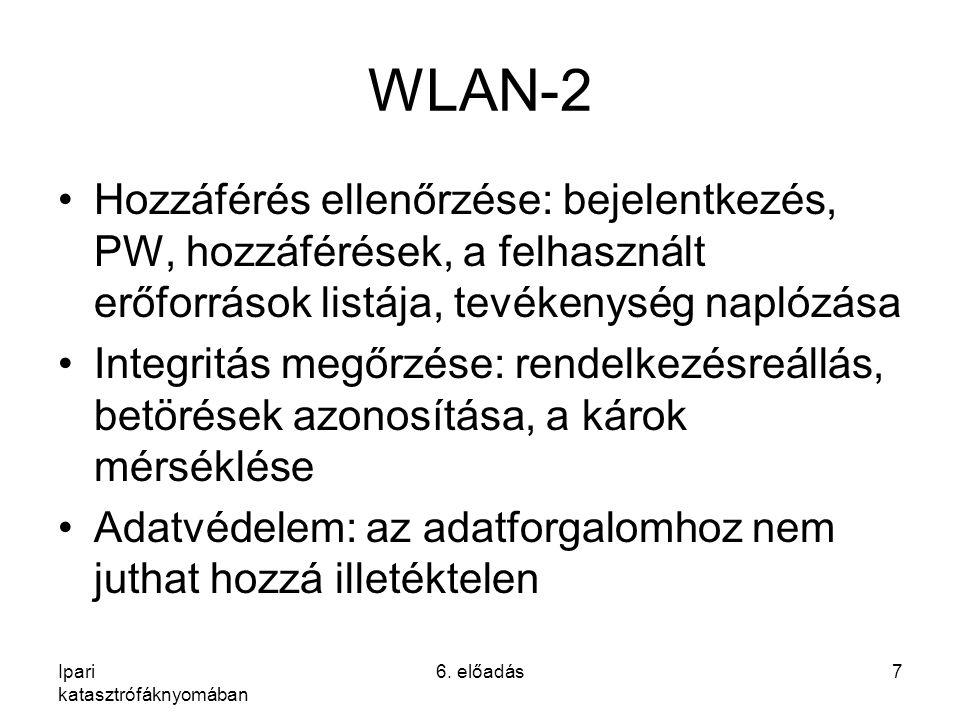 WLAN-2 Hozzáférés ellenőrzése: bejelentkezés, PW, hozzáférések, a felhasznált erőforrások listája, tevékenység naplózása Integritás megőrzése: rendelkezésreállás, betörések azonosítása, a károk mérséklése Adatvédelem: az adatforgalomhoz nem juthat hozzá illetéktelen Ipari katasztrófáknyomában 6.