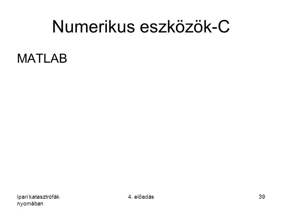 Ipari katasztrófák nyomában 4. előadás39 Numerikus eszközök-C MATLAB