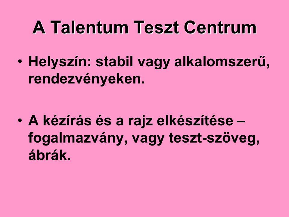 A Talentum Teszt Centrum Helyszín: stabil vagy alkalomszerű, rendezvényeken.