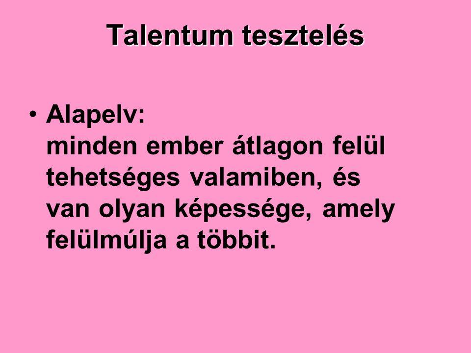 Talentum tesztelés Alapelv: minden ember átlagon felül tehetséges valamiben, és van olyan képessége, amely felülmúlja a többit.