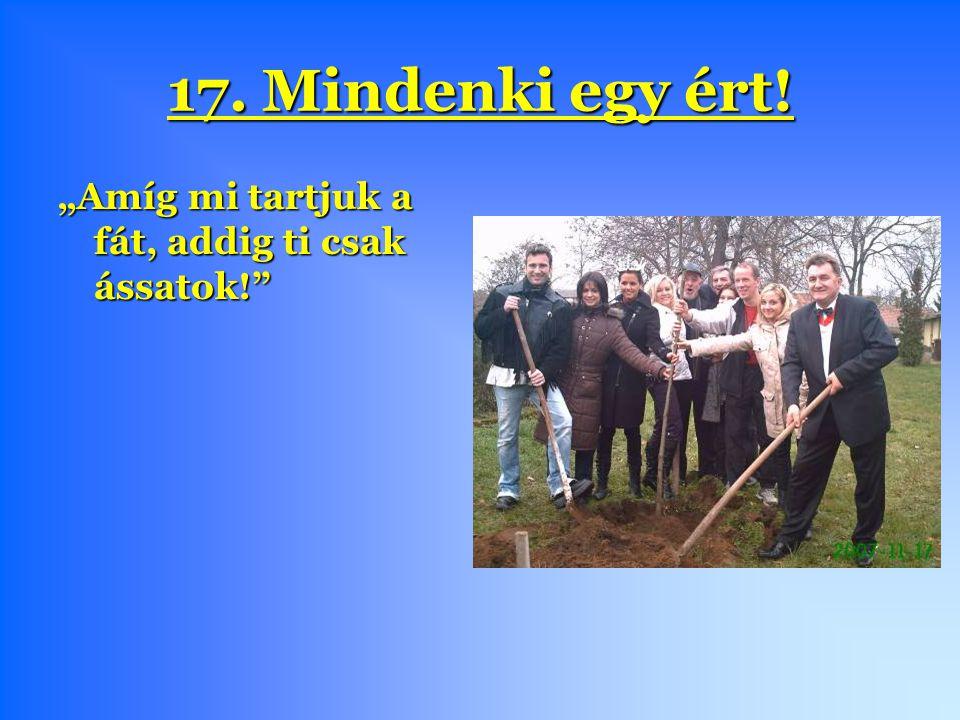 """17. Mindenki egy ért! """"Amíg mi tartjuk a fát, addig ti csak ássatok!"""