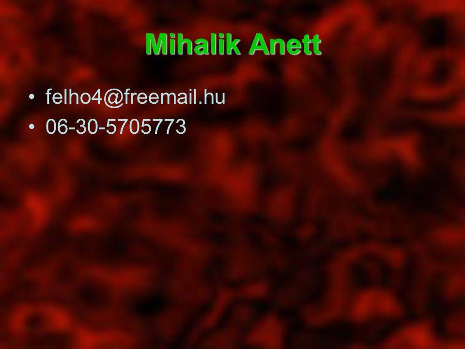 Mihalik Anett felho4@freemail.hu 06-30-5705773