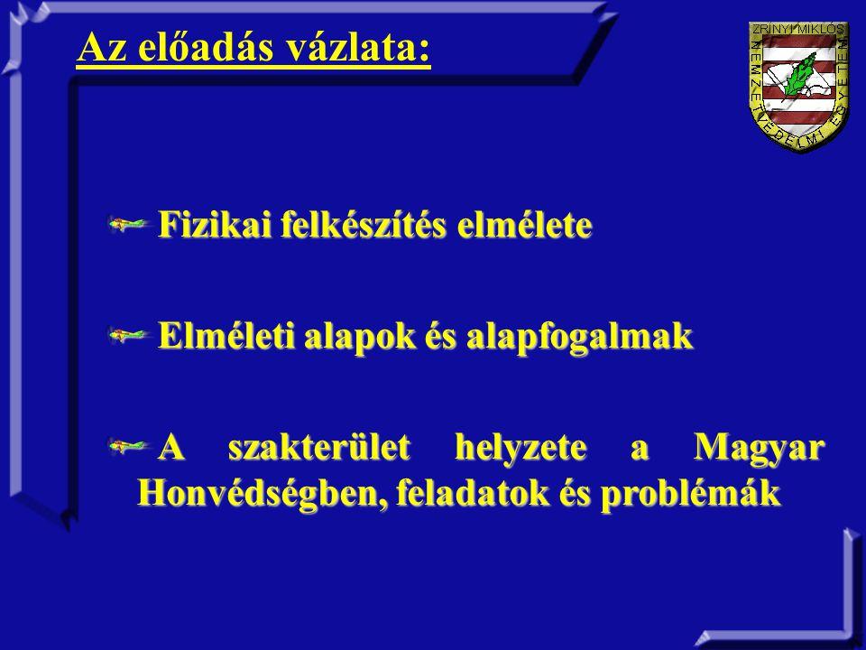 Fizikai felkészítés elmélete Elméleti alapok és alapfogalmak A szakterület helyzete a Magyar Honvédségben, feladatok és problémák Az előadás vázlata: