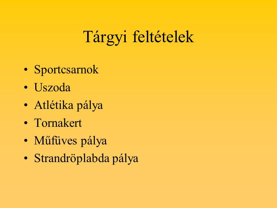 Tárgyi feltételek Sportcsarnok Uszoda Atlétika pálya Tornakert Műfüves pálya Strandröplabda pálya