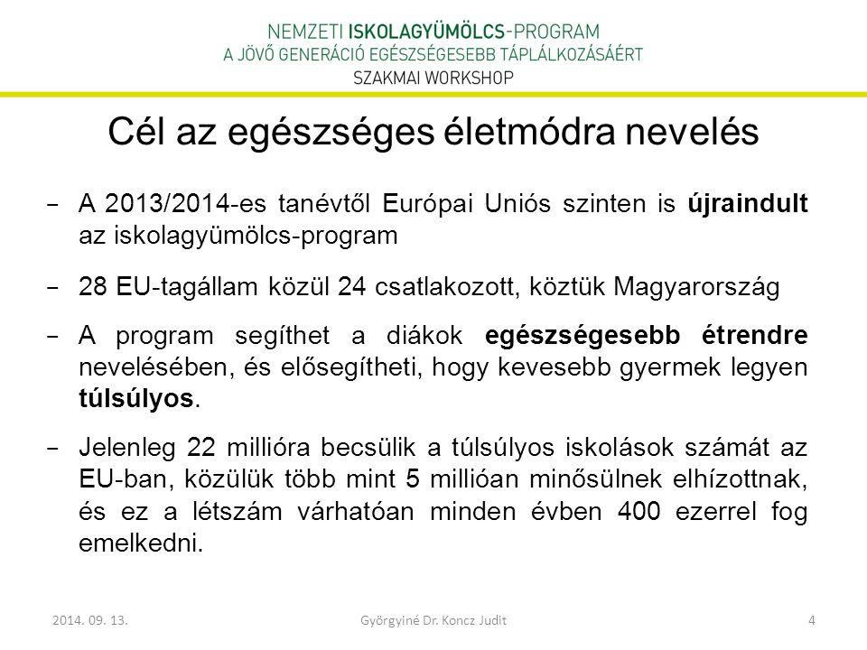 2014. 09. 13.Györgyiné Dr. Koncz Judit4 Cél az egészséges életmódra nevelés − A 2013/2014-es tanévtől Európai Uniós szinten is újraindult az iskolagyü
