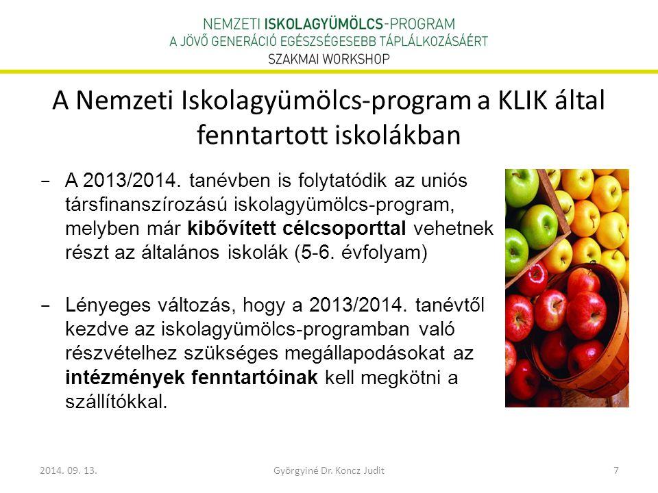 2014. 09. 13.Györgyiné Dr. Koncz Judit7 A Nemzeti Iskolagyümölcs-program a KLIK által fenntartott iskolákban − A 2013/2014. tanévben is folytatódik az