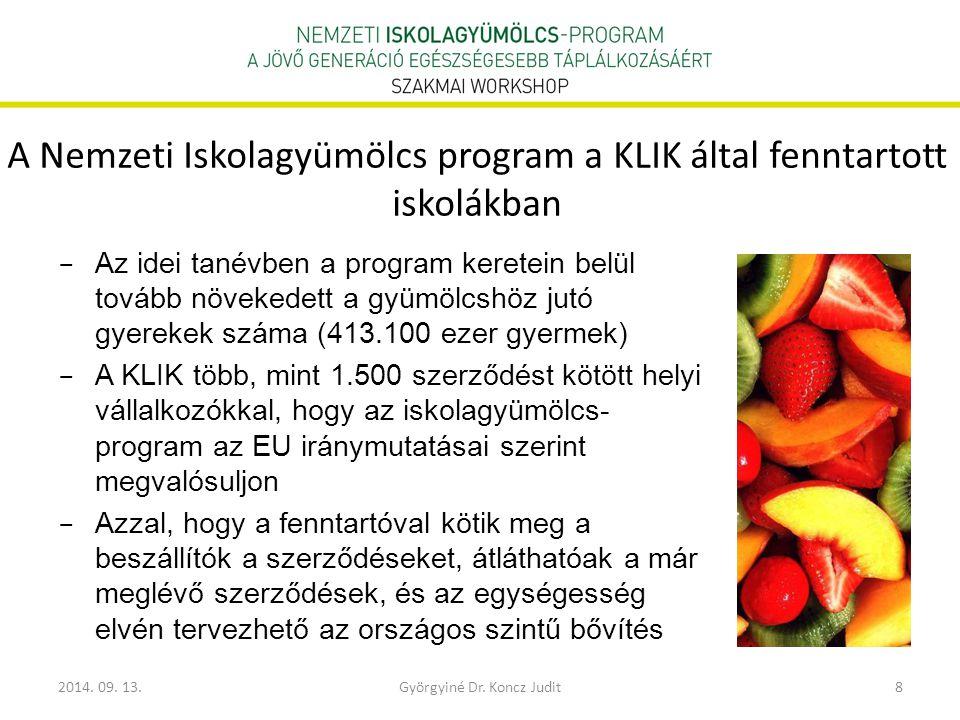 2014. 09. 13.Györgyiné Dr. Koncz Judit8 A Nemzeti Iskolagyümölcs program a KLIK által fenntartott iskolákban − Az idei tanévben a program keretein bel