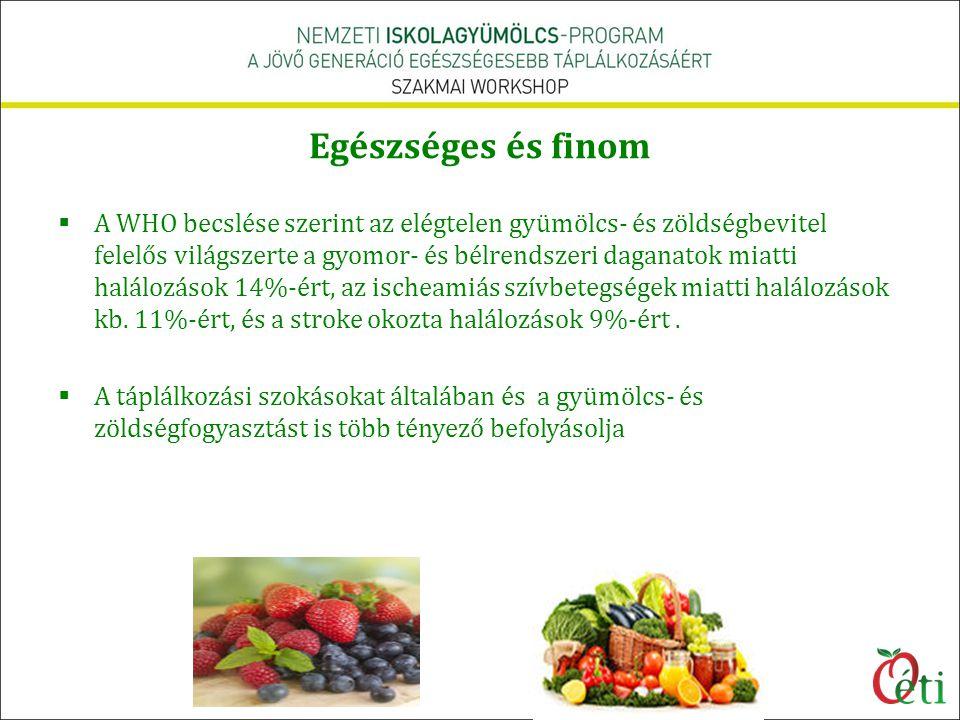 Egészséges és finom  A WHO becslése szerint az elégtelen gyümölcs- és zöldségbevitel felelős világszerte a gyomor- és bélrendszeri daganatok miatti h