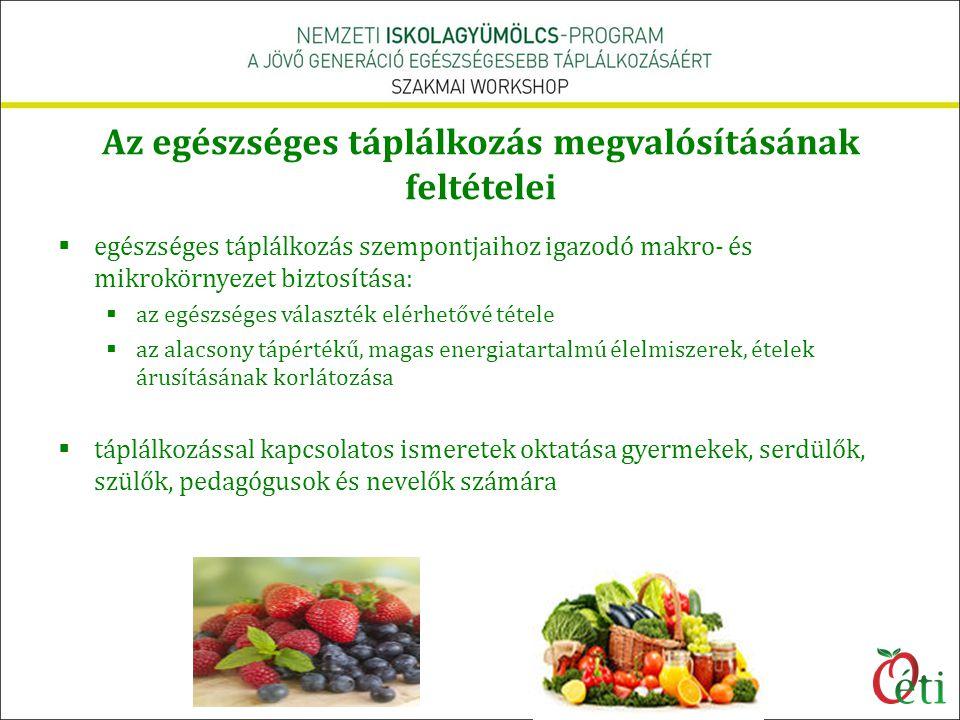  egészséges táplálkozás szempontjaihoz igazodó makro- és mikrokörnyezet biztosítása:  az egészséges választék elérhetővé tétele  az alacsony tápért